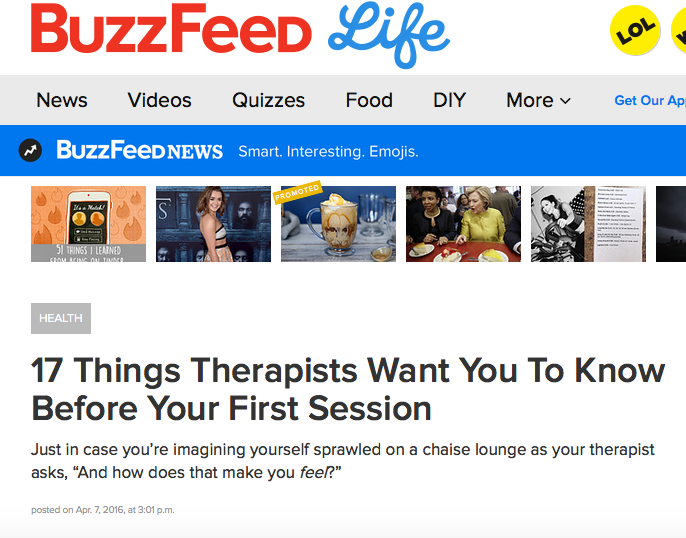 BuzzFeed: 17 Things Therapists Want You to Know Before Your First Session