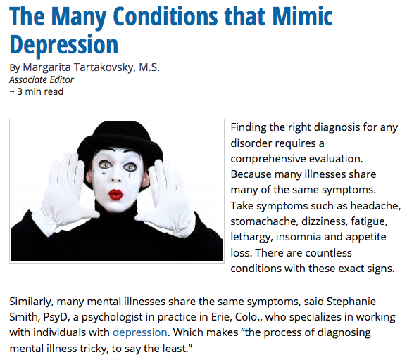 Psych Central: The Many Conditions That Mimic Depression